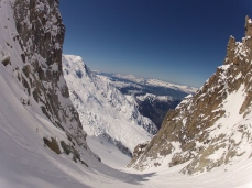The couloir opens up after a narrow start