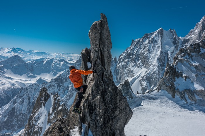 Scrambling on the Entrèves ridge with Aiguille Blanche de Peuterey in the background